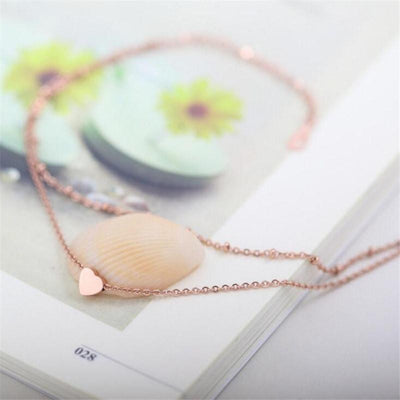 Sweet Heart Double Chain Gold Anklets Rose Gold Anklets