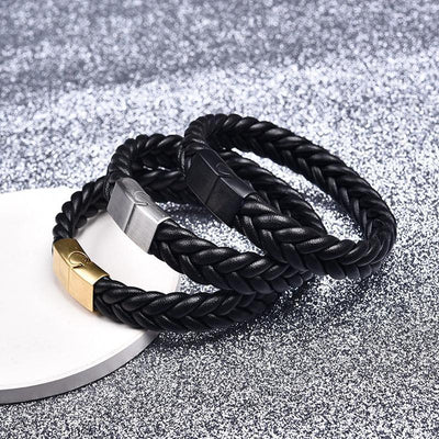 Thick Braided Genuine Leather Stainless Steel Bracelet Bracelet