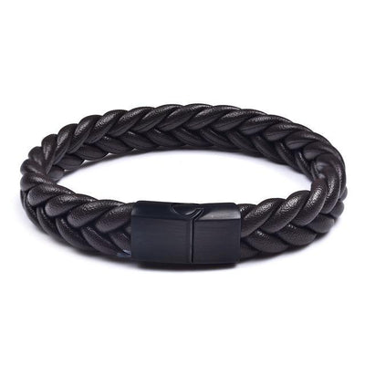 Thick Braided Genuine Leather Stainless Steel Bracelet Brown - Black Clasp / 20.5cm (8 in) Bracelet