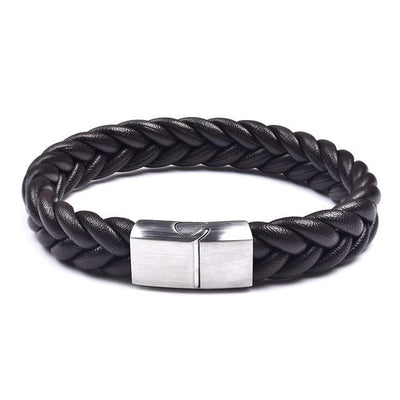 Thick Braided Genuine Leather Stainless Steel Bracelet Brown - Silver Clasp / 20.5cm (8 in) Bracelet
