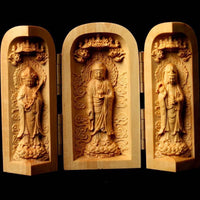 Three Sided Opening Cylinder Carved Wooden Buddha 7cm | 2.76in high Buddha Statue