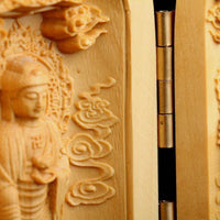 Three Sided Opening Cylinder Carved Wooden Buddha Buddha Statue