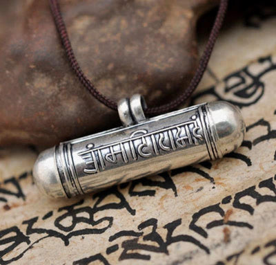 Tibetan 6 Syllable Mantra 925 Sterling Silver Prayer Box Pendant Necklace Necklace
