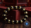 Tibetan 6 Syllable Mantra Black Agate Amulet Bracelet 14mm 15beads Bracelet