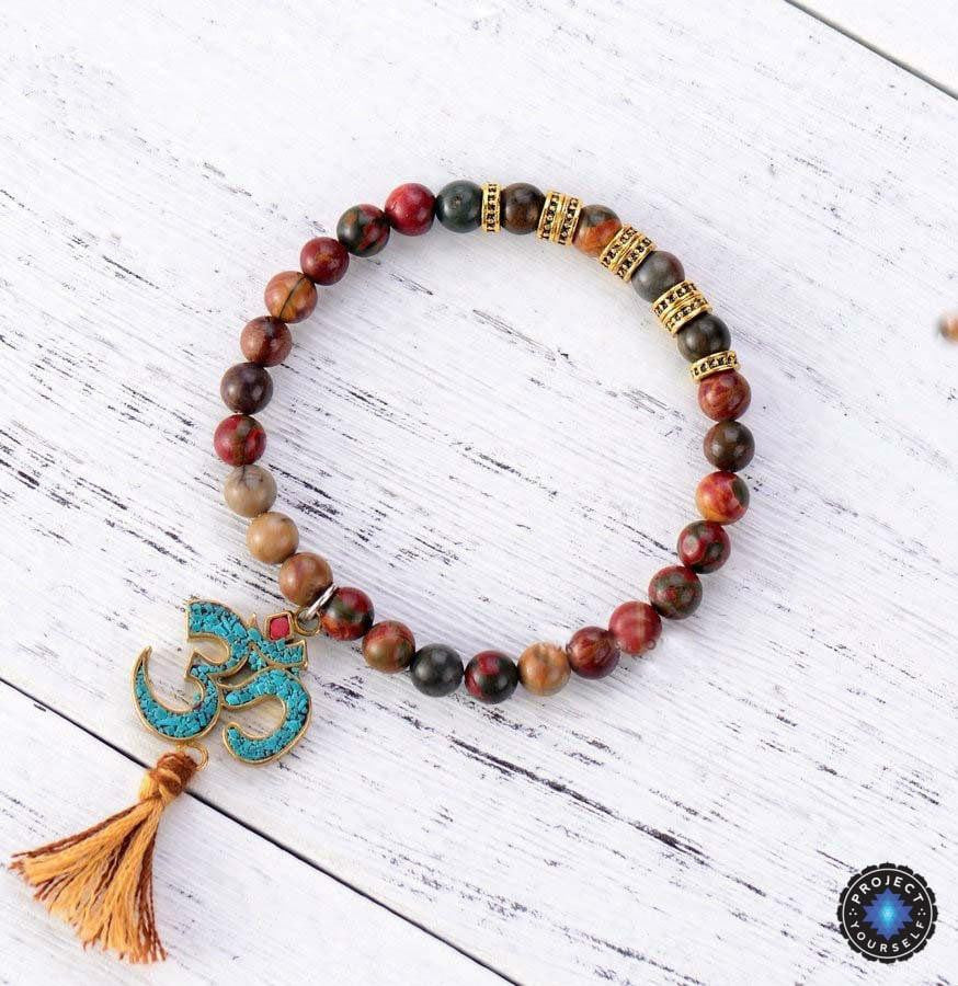 Tibetan Om Natural Jasper Mala Bracelet Project Yourself