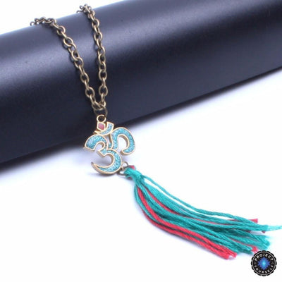 Tibetan OM Pendant and Cotton Tassel Long Necklace Necklace