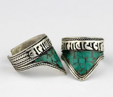 Tibetan Six Words Mantras Turquoise Triangle Amulet Ring Rings