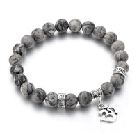 Tiger Eye Stone Om Bracelet Gray Map Bracelet