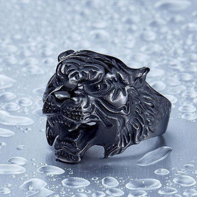 Tiger Head Ring Black / 6 Rings