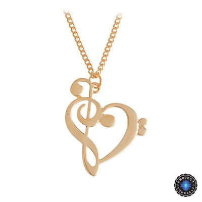 Treble and Clef Heart Pendant Necklace Gold Necklace
