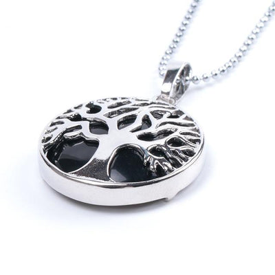 Tree Of Life Healing Stone Openwork Necklace Black Agate Necklace