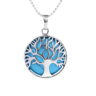Tree Of Life Healing Stone Openwork Necklace Blue Turquoise Necklace