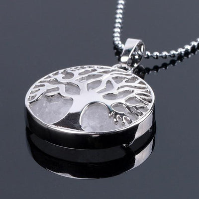 Tree Of Life Healing Stone Openwork Necklace Clear Rock Quartz Necklace