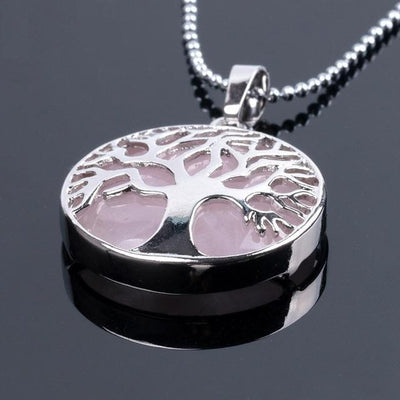 Tree Of Life Healing Stone Openwork Necklace Rose Quartz Necklace