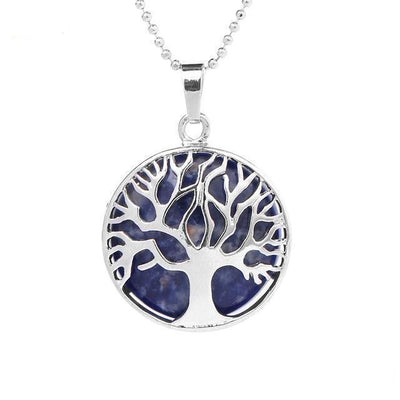 Tree Of Life Healing Stone Openwork Necklace Sodalite Necklace