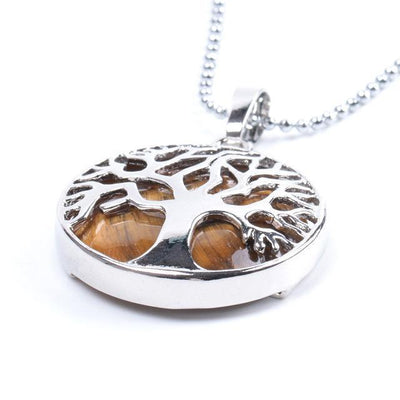 Tree Of Life Healing Stone Openwork Necklace Tiger Eye Necklace