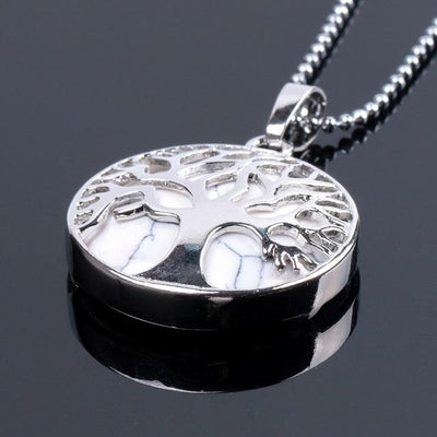 Tree Of Life Healing Stone Openwork Necklace WhiteTurquoise Necklace