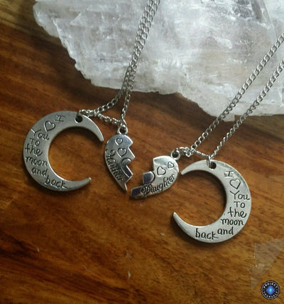 "Two-Part Heart ""I Love You To The Moon And Back"" Crescent Moon Mother-Daughter Pendant Necklace Set Necklace"