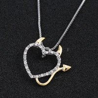 Two Tone Gold and Silver Plated Devil Sweetheart Pendant Necklace Necklace