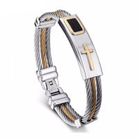 Two Tone Stainless Steel Twisted Cable Cross Bracelet Bracelets