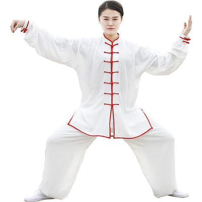 Unisex Cotton Tai Chi Meditation 2-Piece Clothing Set White + Red Details / S Clothing