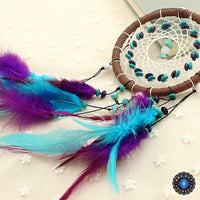 Vibrant Blue & Purple Wicker Dream Catcher With Wood Beads & Turquoise Charm Dreamcatchers