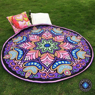 Vibrant Boho Mandala Beach Throw Style 1 Tapestry