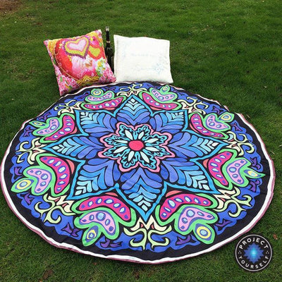 Vibrant Boho Mandala Beach Throw Style 2 Tapestry