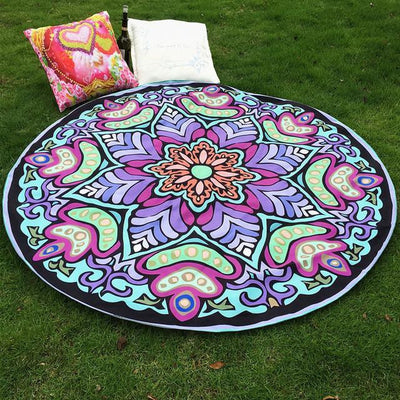 Vibrant Boho Mandala Beach Throw Style 3 Tapestry