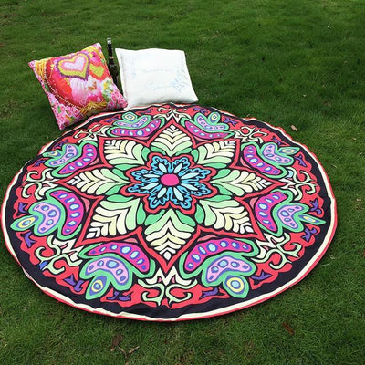 Vibrant Boho Mandala Beach Throw Style 4 Tapestry