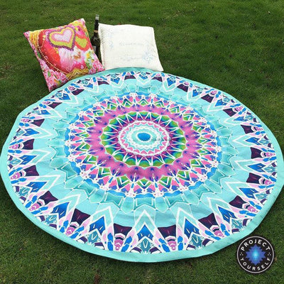 Vibrant Boho Mandala Beach Throw Style 5 Tapestry