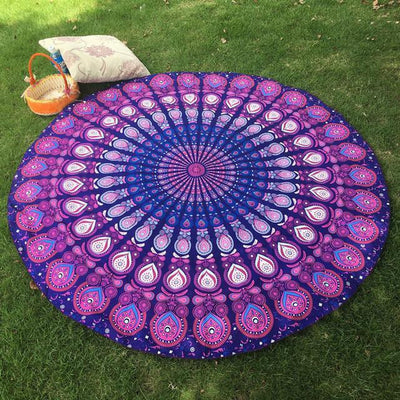 Vibrant Boho Mandala Beach Throw Style 6 Tapestry