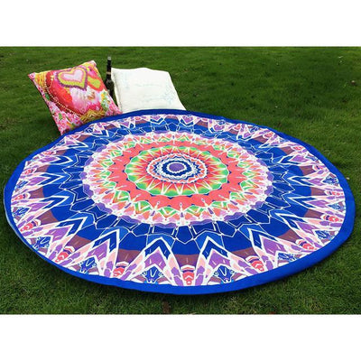 Vibrant Boho Mandala Beach Throw Style 7 Tapestry