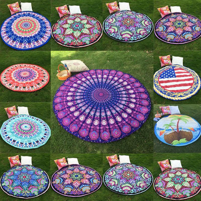 Vibrant Boho Mandala Beach Throw Tapestry
