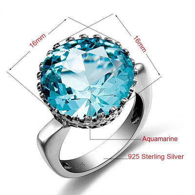 Vintage Aquamarine Sterling Silver Ring Rings