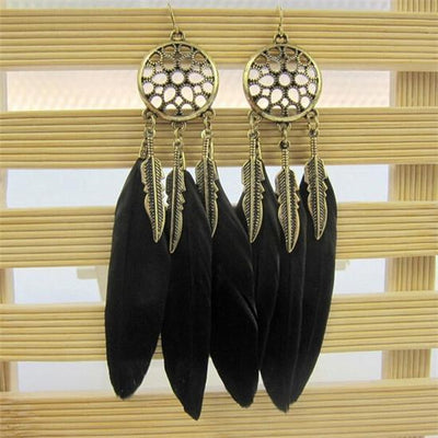 Vintage Dream Catcher Feather Dangle Earrings Black Earrings