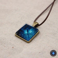 Vintage Luminous Starry Sky Crystal Pyramid Pendant Necklace Necklace