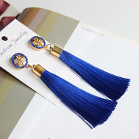 Vintage Rose Crystal Tassel Earrings Cross - Blue Earrings
