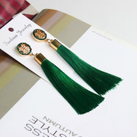 Vintage Rose Crystal Tassel Earrings Cross - Green Earrings