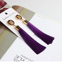 Vintage Rose Crystal Tassel Earrings Cross - Purple Earrings