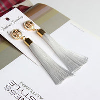 Vintage Rose Crystal Tassel Earrings Cross - White Earrings