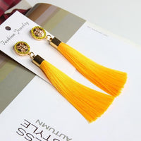 Vintage Rose Crystal Tassel Earrings Cross - Yellow Earrings