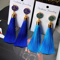 Vintage Rose Crystal Tassel Earrings Earrings