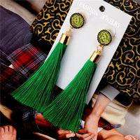 Vintage Rose Crystal Tassel Earrings Rose - Green Earrings