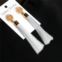 Vintage Rose Crystal Tassel Earrings Rose - White Earrings