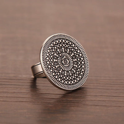 Vintage Silver Plated Evil Eye Mandala Ring Rings