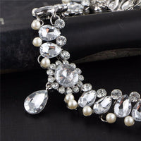 Water Drop Crystal and Pearl Princess Choker Necklace