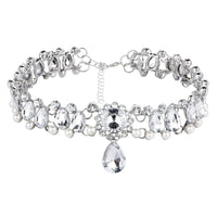 Water Drop Crystal and Pearl Princess Choker Silver Necklace