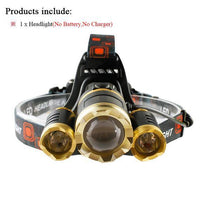 Waterproof Headlamp with Rechargeable Batteries Package A / 3 x CREE XML T6 LED Headlight Headlamp
