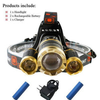 Waterproof Headlamp with Rechargeable Batteries Package B / 3 x CREE XML T6 LED Headlight Headlamp